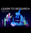 learn to research landing page with man scientist vector image