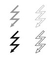 lightning icon set grey black color vector image vector image