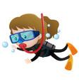 little girl scuba diving underwater vector image vector image