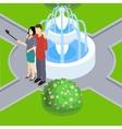 Loving Couple Making Selfie Isometric Layout vector image