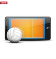 Mobile phone with volleyball ball and field on the vector image vector image