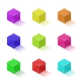 Nine colorful bright cubes vector image vector image