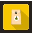 Paper bag of medical marijuana icon flat style vector image vector image