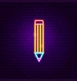 pencil neon label vector image vector image