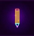 pencil neon label vector image