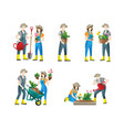 people gardening set flat people doing vector image vector image