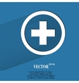 Plus Flat modern web button with long shadow and vector image