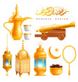 ramadan kareem celebration objects set vector image