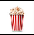 realistic popcorn in striped bucket box vector image vector image