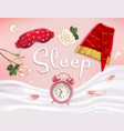 realistic sleeping accessories composition vector image vector image