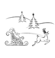 Santa Claus and deer flying vector image