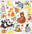 seamless pattern with cute animals mother and baby vector image vector image