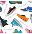 seamless pattern with sneakers and walking shoes vector image vector image