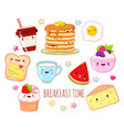 set cute breakfast food icons in kawaii style vector image