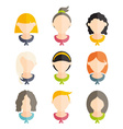 Set flat design of girls with different hairstyles vector image vector image
