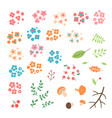 set flowers leaves berries drawn in a simple vector image