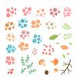 Set flowers leaves berries drawn in a simple