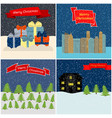 set of four merry christmas vector image vector image