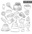 set of sweets with outlined hand drawn elements vector image