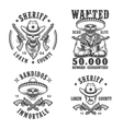 set sheriff and bandit emblems vector image vector image