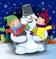 Snowman and Children vector image