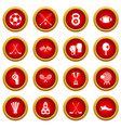sport equipment icon red circle set vector image