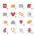stylized media and communication icons vector image vector image