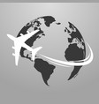 travel icons with airplane fly around the earth vector image vector image