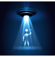 UFO invasion light beam with alien vector image