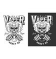 vintage monochrome vaping emblem vector image vector image