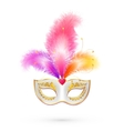 White carnival mask with pink feathers vector image vector image