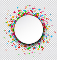 White round paper note over confetti vector image vector image