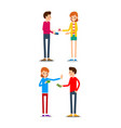 woman and man with credit card young people vector image