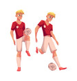 handsome blond soccer player in uniform standing vector image