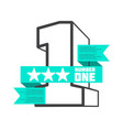 3d number one with ribbon banner design vector image vector image