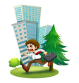 A late man running hurriedly vector image vector image