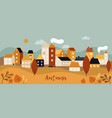autumn city landscape fall season panorama with vector image