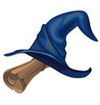 blue witch hat and old parchment scroll isolated vector image vector image
