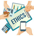 business ethics porter with papers and devices for vector image
