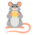 cartoon mouse flat style front vector image vector image