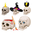 cartoon skulls set vector image