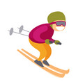 caucasian white skier skiing downhill in mountains vector image