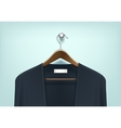 Clothes Wooden Hanger with Cardigan Jumper vector image vector image