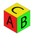 colorful alphabet cubes with abc letters vector image vector image
