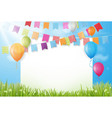 colorful birthday background with bunting flags vector image vector image