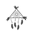 contour beauty dream catcher with feathers and vector image vector image