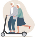 crazy senior couple riding electric kick scooter vector image vector image