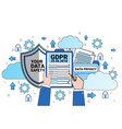data safety cloud shield hands hold checklist over vector image vector image