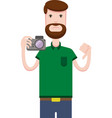 drawing of man with a camera vector image vector image