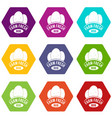 eco farm fresh icons set 9 vector image vector image